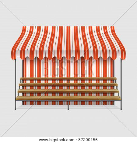 Market Stall With Wooden Shelves.