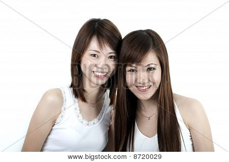 Wo Cheerful Asian Girls