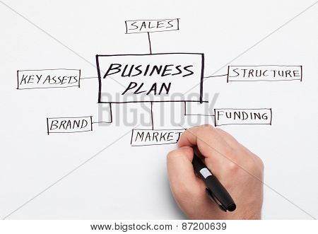 Executive Drawing Business Plan On A Paper
