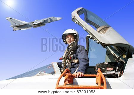 The Military Pilot In The Plane