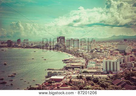 Beautiful Gulf Landscape Of Pattaya, Thailand In Vintage Color