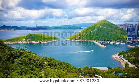 Great Rocky Mountain In The Ocean Of Hong Kong