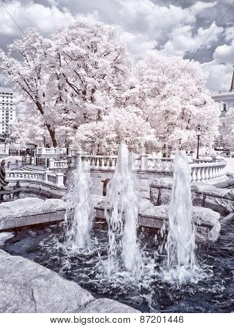 Moscow. Manezhnaya Square  And Alexander Garden. Infrared Photo