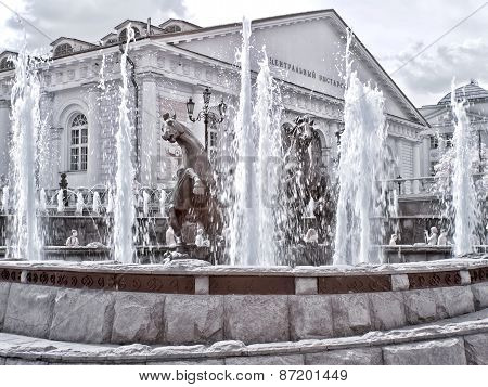 Moscow. Fountain. Manezhnaya Square  And Alexander Garden. Infrared Photo