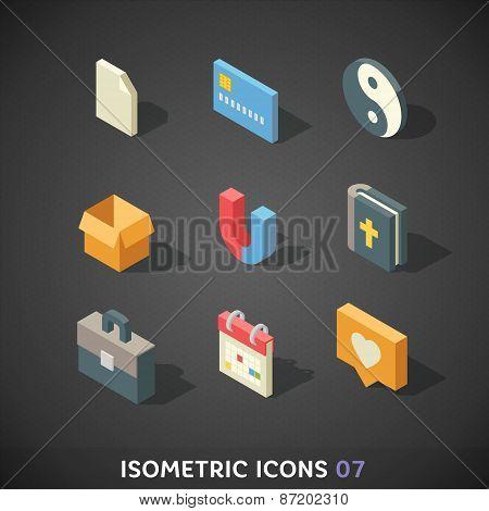 Flat Isometric Icons Set 7