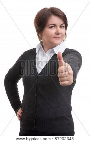 Business Woman Isolated On White. Thumb Up.