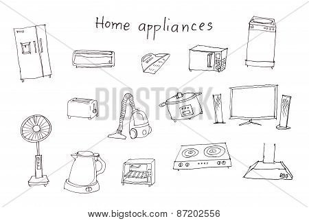 Home Appliances Hand Drawing