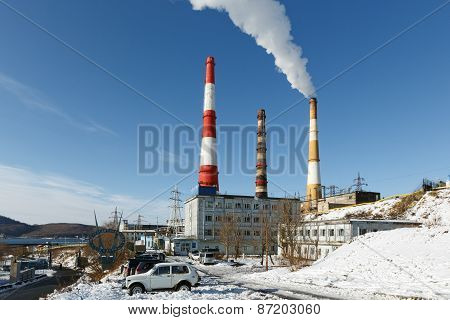 Kamchatka Thermoelectric Power Station With Smoking Pipes On Petropavlovsk-kamchatsky (Russia)