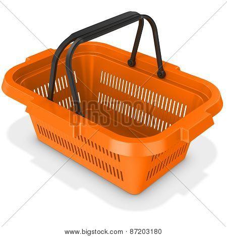 3D Orange Empty Shopping Basket