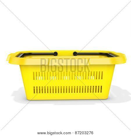 3D Yellow Empty Shopping Basket