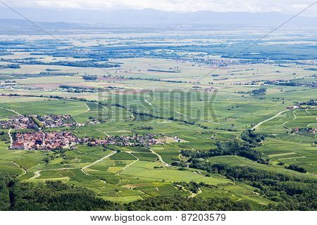 Panoramic Aerial View The Upper Rhine Plain In Alsace, France