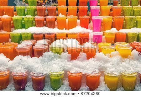 Tasty smoothies at a market