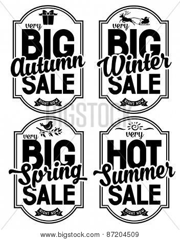 Set of advertisements about the seasonal summer, winter, autumn and spring sale. Isolated on white background .