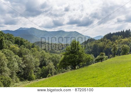 View Of A Mountain Ridge In The Pyrenees