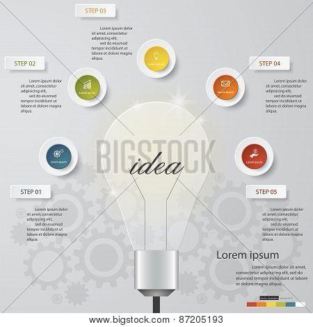 Design Business Chart 5 Steps Diagram in Light Bulb Shape.