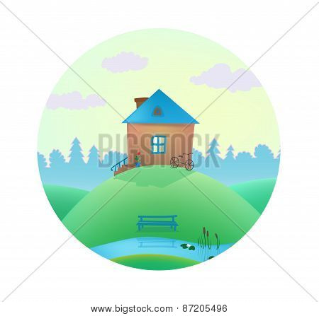 vector small cute house on the hills