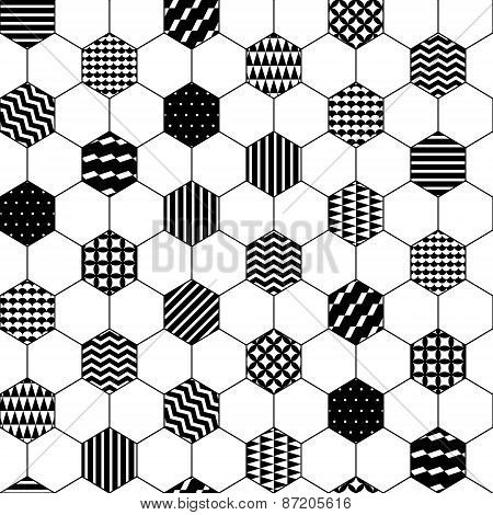 Black and white textured hexagon honeycomb geometric seamless pattern, vector