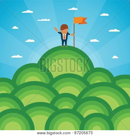 Vector Success Concept With Mountainous Landscape