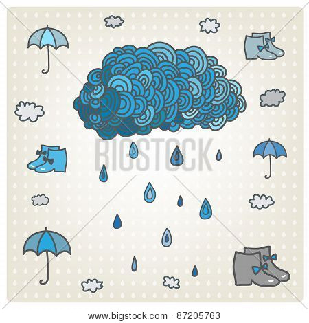 Vector stylizes drawn blue cloud with rain. Bad weather set.
