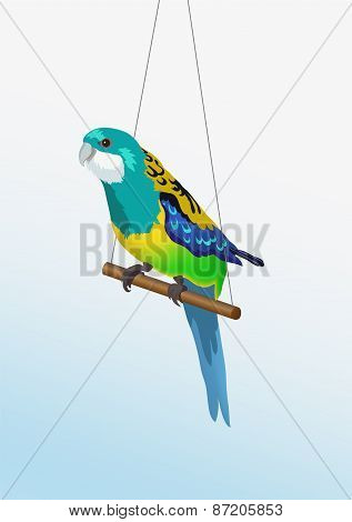 Vector realistic colorful parrot is sitting on the stick