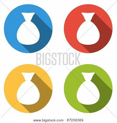 Collection Of 4 Isolated Flat Colorful Buttons For Bag Of Money