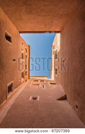 The Skylight From Bottom To Top View Of Kasbah De Taourirt With Blue Sky