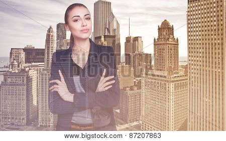 Double Exposure Of City And Beautiful Business Woman Folded Her Arms