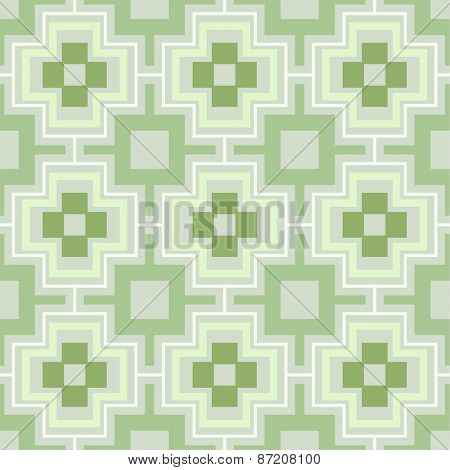Green seamless geometric vector wallpaper pattern.