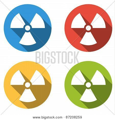 Collection Of 4 Isolated Flat Buttons (icons) For Radiation Hazard