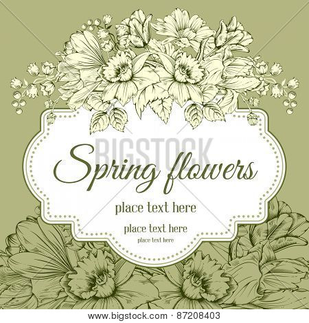 Vintage card for invitation or other life events. Hand drawn spring garden flowers on green background. Vector illustration.