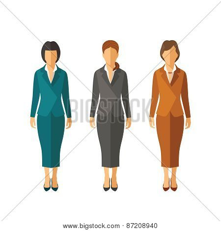 Set Of Vector Businesswomen In Suits In Flat Style