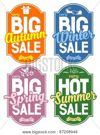 Advertisement about the seasonal summer, winter, autumn and spring sale. Isolated on white background. Vector illustration.