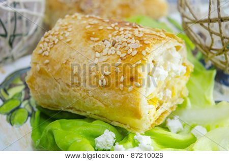 Homemade Cheese Pie And Green Salad