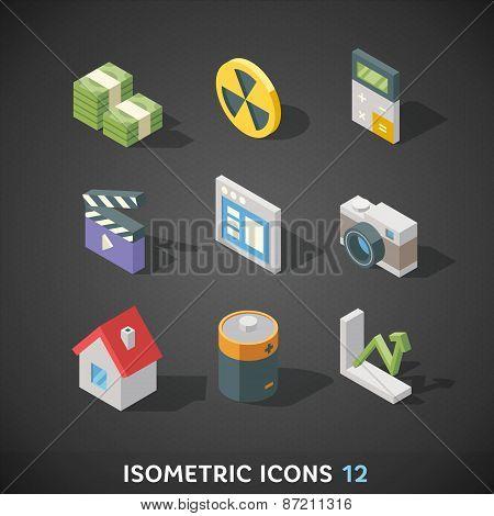 Flat Isometric Icons Set 12