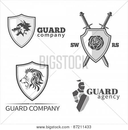 Guard symbols and emblems set. Vector illustration.