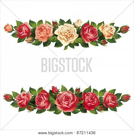 Roses garlands isolated on white. Vector eps 10.
