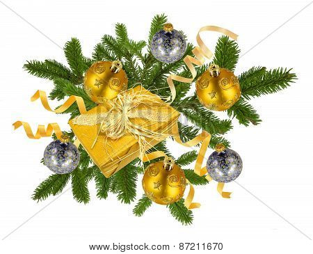 Christmas Concept With Decoration Balls And Giftbox