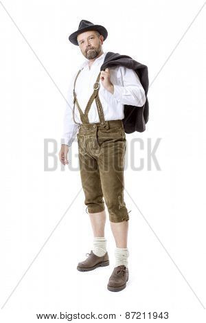An image of a traditional bavarian man isolated on a white background