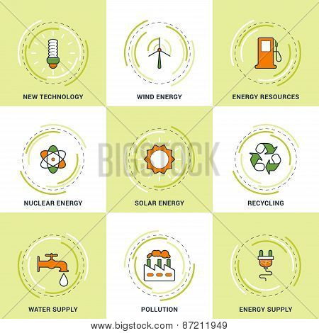Modern Vector Ecology Line Icons Set. New Technology, Clean Energy, Recycling, Pollution, Water And
