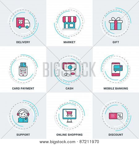 Modern Vector Business And Shopping Line Icons Set. Delivery, Card Payment, Online Shopping, Cash, M