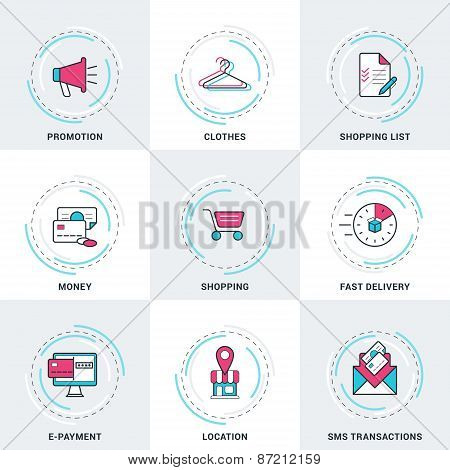 Modern Vector Business And Shopping Line Icons Set. Promotion, Money, Sms Transactions, E-payment, S