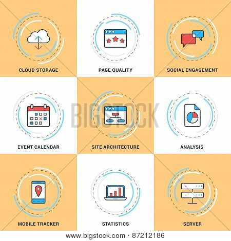 Modern Vector Line Icons Set. Cloud Storage, Social Engagement, Calendar, Server, Statistics, Site A