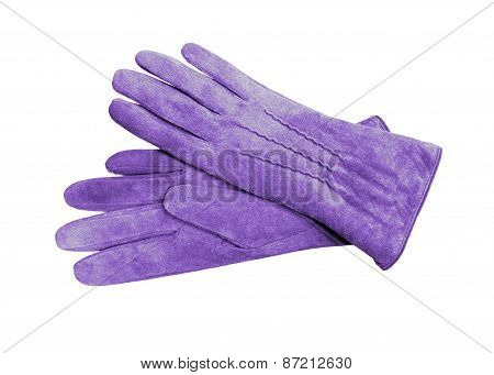 Beautiful Blue Suede (leather) Women's Gloves Isolated On White