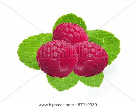 Fresh Raspberries With Mint Isolated On White