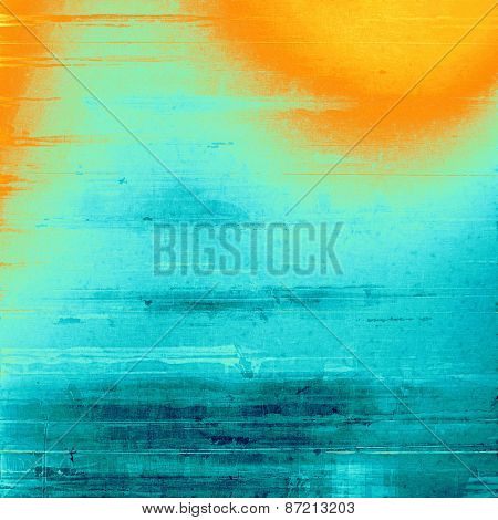 Antique vintage textured background. With different color patterns: blue; red (orange); cyan
