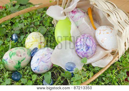 Basket Full Of Handcolored Easter Eggs In Decoupage