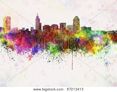 Raleigh Skyline In Watercolor Background