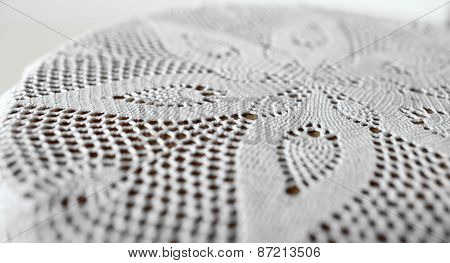 flower on lace doily