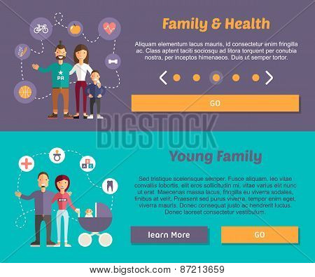 Health Family And Young Family. Flat Design Illustration Concept For Web Banners