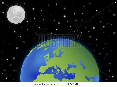 Earth With Moon Background Europe